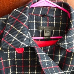 🆕Marc Jacobs wool navy red multi plaid trenchcoat